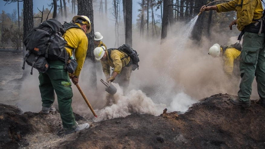 Wildland fire crews from Taos, N.M., put out hot spots in the southern New Mexico mountain village of Timberon, Friday, July 15, 2016. New Mexico Gov. Susana Martinez has declared a state of emergency in response to a wildfire in Otero County. Friday afternoon's declaration will enable the county to get additional resources needed to fight the wildfire in Timberon. (Roberto E. Rosales/The Albuquerque Journal via AP, Pool)