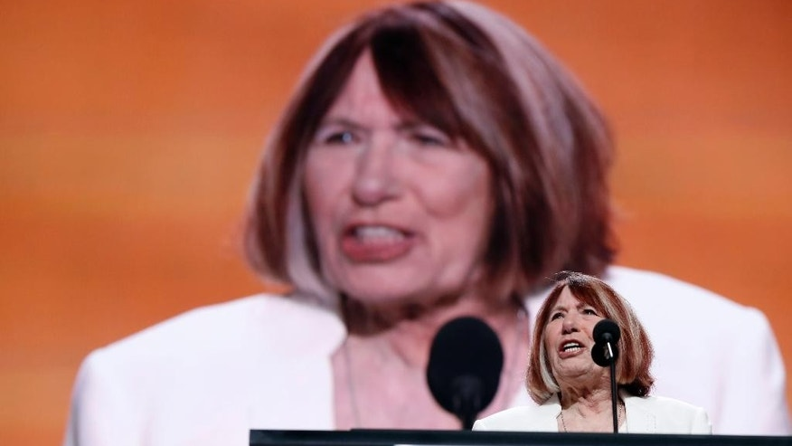 Pat Smith, mother of Benghazi victim Sean Smith speaks during the opening day of the Republican National Convention in Cleveland, Monday, July 18, 2016. (AP Photo/Carolyn Kaster)
