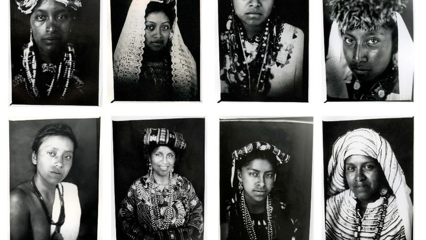 FILE - In this combo of eight file photos taken July 29, 2011, Mayan Queens representing Guatemalan states pose for portraits taken with a 19th century style box camera during the Rabin Ajau National Folkloric Festival in Coban, Guatemala. Unlike traditional beauty contests, during the Rabin Ajau, or Queen Daughter, the panel of judges not only value the participants' leadership skills, but their commitment to the rescue and maintenance of Mayan values. The contestants, whose ages range from 14-26 years, go through numerous rounds of competition, including a speech that must be given in their native dialect and Spanish. (AP Photo/Rodrigo Abd, File)
