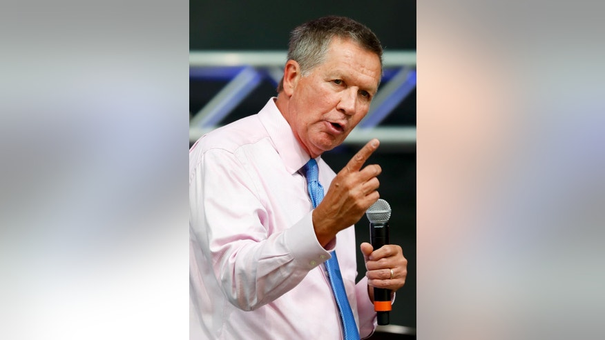 Ohio Gov. John Kasich speaks at the The Rock and Roll Hall of Fame and Museum on Tuesday, July 19, 2016, in Cleveland, during the second day of the Republican convention. (AP Photo/Alex Brandon)