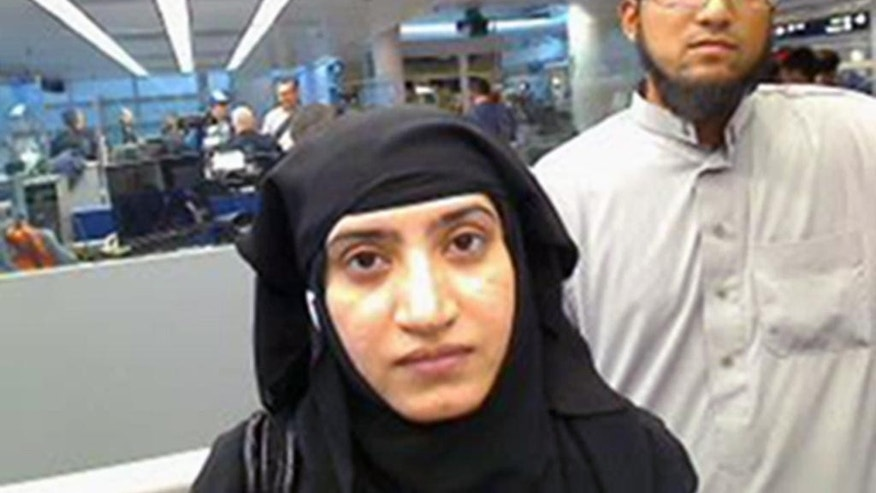 Two women with family ties to Syed Farook and Tashfeen Malik, seen here, were charged in an immigration fraud case in April.