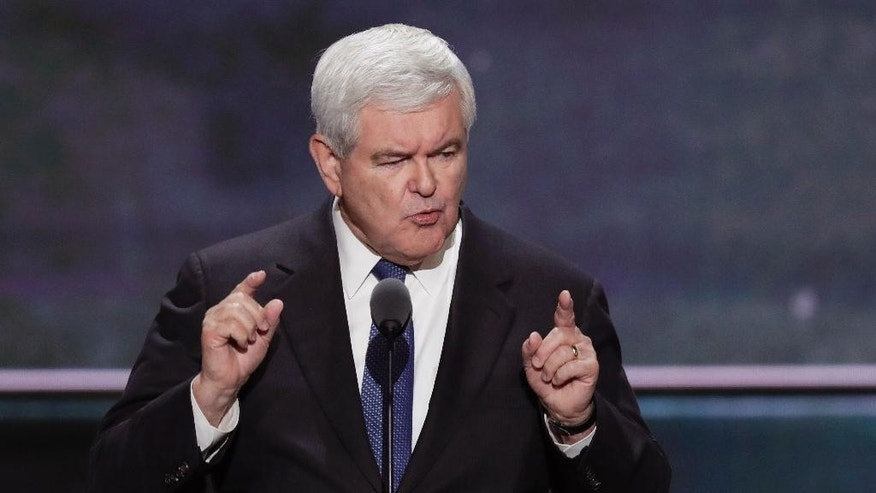 Former House Speaker Newt Gingrich speaks during the third day of the Republican National Convention in Cleveland, Wednesday, July 20, 2016. (AP Photo/J. Scott Applewhite)