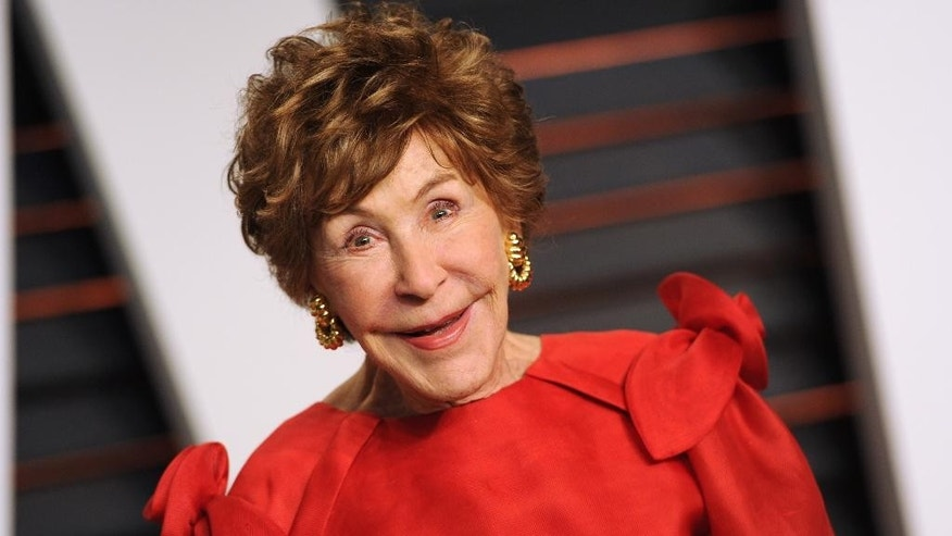 FILE - In this Feb. 22, 2015 file photo, Betsy Bloomingdale arrives at the 2015 Vanity Fair Oscar Party in Beverly Hills, Calif. Bloomingdale, the widow of a department store heir who hobnobbed with the world's elite and was best friends with Nancy Reagan, has died. She was 93. Her daughter-in-law says Bloomingdale died Tuesday, July 19, 2016, at her Los Angeles home from congestive heart failure. (Photo by Evan Agostini/Invision/AP, File)