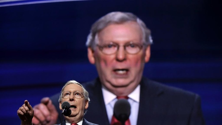 Majority Leader Mitch McConnell of Kentucky, speaks during the second day of the Republican National Convention in Cleveland, Tuesday, July 19, 2016. (AP Photo/John Locher)