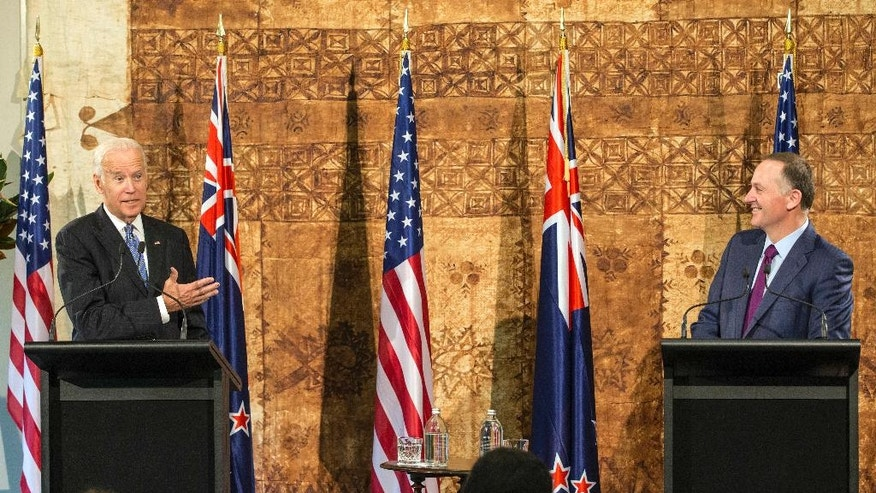 U.S. Vice President Joe Biden, left, and New Zealand Prime Minister John Key speak during their joint press conference at Government House in Auckland on Thursday, July 21, 2016. (Greg Bowker/New Zealand Herald via AP)