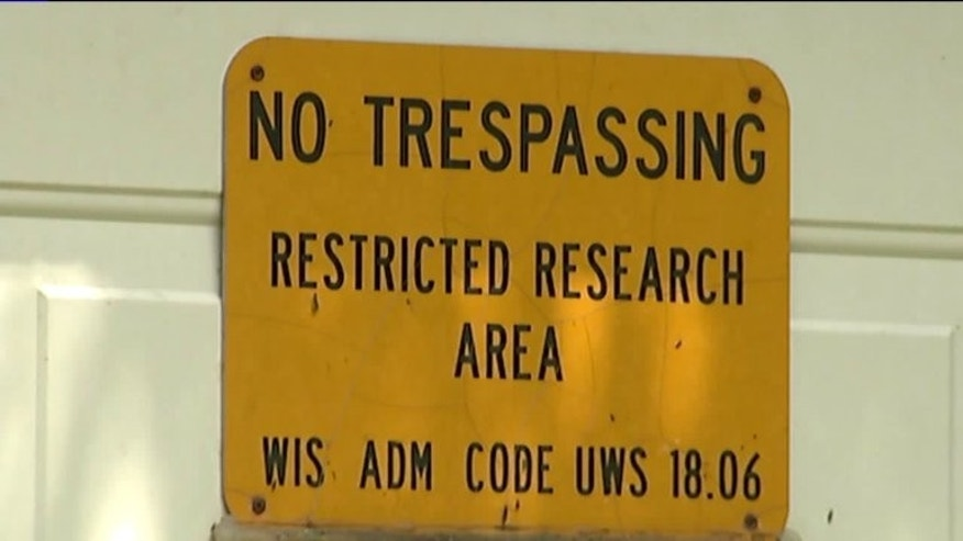 A sign outside the abandoned mine in Dodge County.