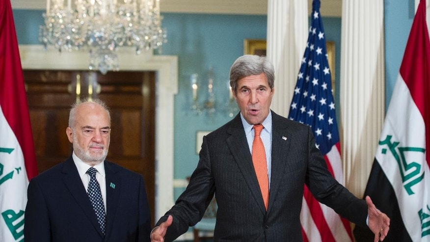 Secretary of State John Kerry meets with Iraqi Foreign Minister Ibrahim al-Jaafari at the State Department in Washington, Thursday, July 21, 2016. (AP Photo/Cliff Owen)
