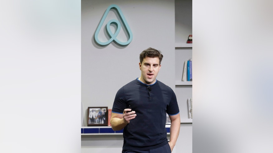 FILE - In this April 19, 2016 file photo, Airbnb co-founder and CEO Brian Chesky speaks during an announcement in San Francisco.
