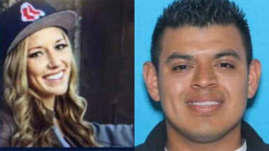 These undated images released by the Bend (Ore.) Police Department show Edwin Lara, right, a suspect in the disappearance of Kaylee Sawyer, left.