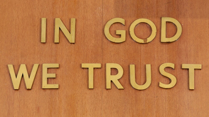 """In God We Trust"" inscribed at a courtroom in New York City."