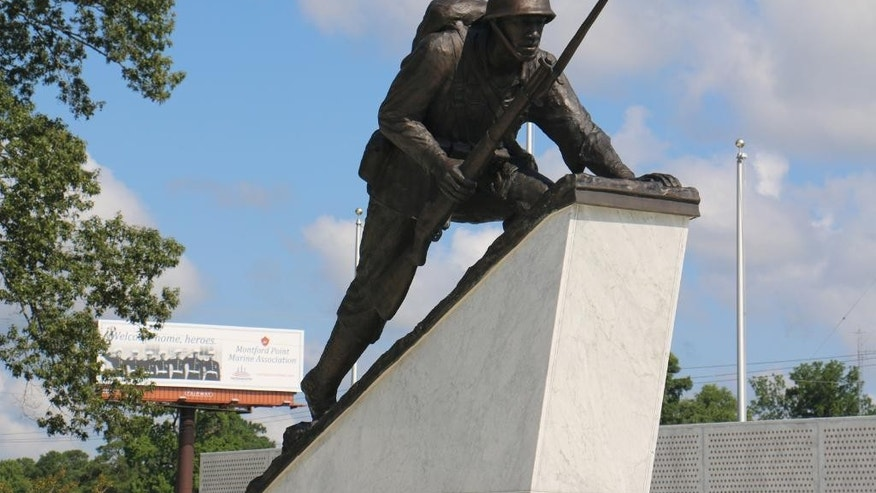 Sept. 21, 2015: The monument for the Montford Point Marines, the nation's first black Marines, is seen in Jacksonville, N.C. Forty-five Montford Point Marines are scheduled to attend the dedication Friday, July 29, 2016, at Lejeune Memorial Gardens.