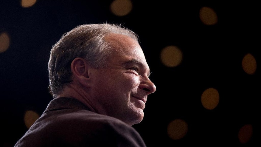 Democratic vice presidential candidate, Sen. Tim Kaine, D-Va., attends a rally at David L. Lawrence Convention in Pittsburgh, Saturday, July 30, 2016. Democratic presidential candidate Hillary Clinton and Kaine are on a three day bus tour through the rust belt. (AP Photo/Andrew Harnik)
