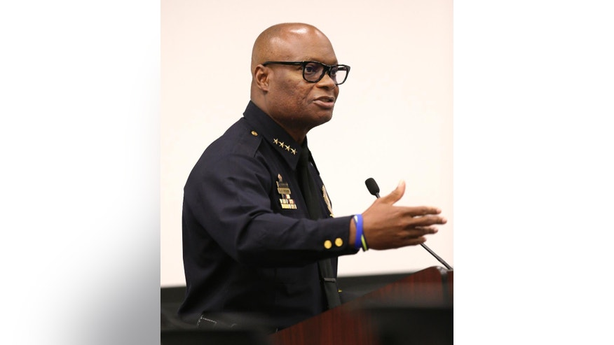 Dallas Police Chief David Brown speaks during a city council budget meeting at Dallas City Hall, Tuesday, Aug. 9, 2016, in Dallas. Brown says several officers testifying on the fatal shooting of five colleagues last month were overwhelmed when they returned to the scene and that some could need up to five years of treatment to recover from the trauma. Brown told the city council that more than 300 witnesses have been interviewed in the investigation into the shooting July 7 during a protest march in downtown Dallas. (AP Photo/LM Otero)