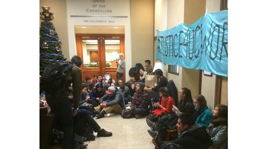 Student protesters staged a sit-in outside the chancellor's office last December.