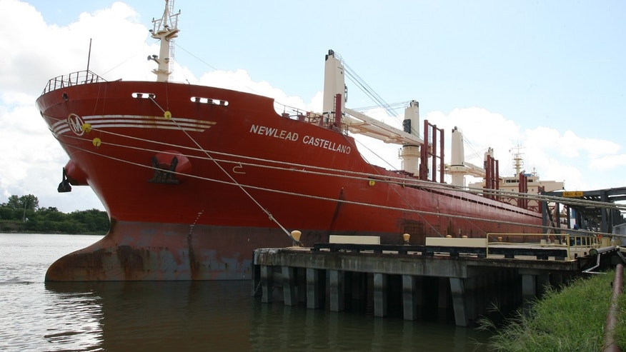 The Newlead Castellano during a brief docking in Savannah, Ga for refueling and supplies Tuesday.