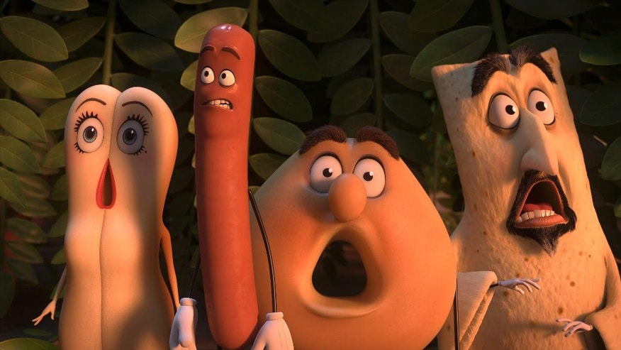 """This image released by Sony Pictures shows, from left, Brenda, voiced by Kristen Wiig, Frank, voiced by Seth Rogen, Sammy, voiced by Ed Norton and Lavash, voiced by David Krumholtz in a scene from, """"Sausage Party."""" (Columbia, Sony Pictures via AP)"""