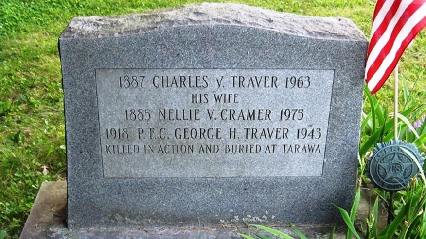 Headstone in the Chatham Rural Cemetery for Marine George Traver and his parents. (Thomas Van Tassel)