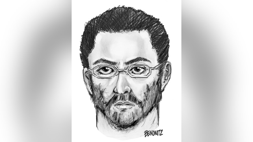 This undated sketch provided by the New York City Police Department on Sunday, Aug. 14, 2016, shows a suspect believed to have shot the leader of a mosque and a friend in New York. Police in New York City are searching for the man who fatally shot the leader of a mosque and a friend as they left afternoon prayers, setting off fear and anguish among the community's Bangladeshi Muslim immigrants. Police said no motive had been established for the killing of Imam Maulama Akonjee, 55, and 64-year-old Thara Uddin Saturday afternoon near the Al-Furqan Jame Masjid mosque. (New York Police Department via AP)