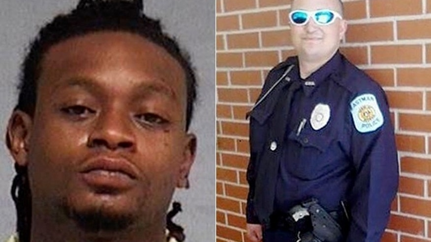 This undated photo provided by the Nassau County Sheriff's Office in Florida, shows the booking photo of 24-year-old Royheem Delshawn Deeds (left). Authorities say Deeds killed Eastman Patrol Officer Tim Smith (right) on Aug. 13, 2016, in a residential area of that city, which is about 60 miles southeast of Macon, Ga.