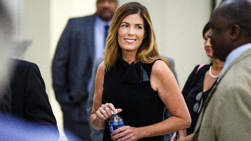 FILE - In this Friday, Aug. 12, 2016 file photo, Pennsylvania Attorney General Kathleen Kane takes a morning break during the fifth day of her trial at the Montgomery County Courthouse in Norristown, Pa. Jurors could soon start deliberating in the perjury and obstruction trial of Kane. Closing arguments are set for Monday, Aug. 15, 2016. (Dan Gleiter/ PennLive.com via AP, Poo, Filel)