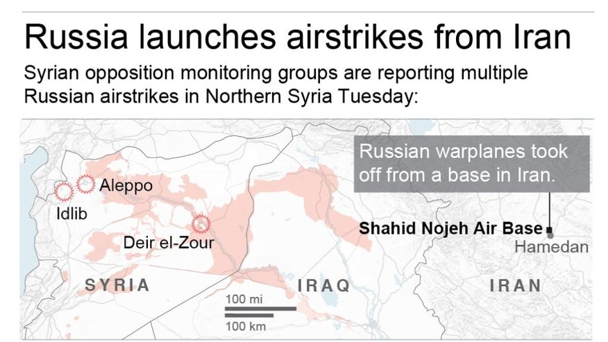 Warplanes took off  from a base in Iran to target militants in Syria.