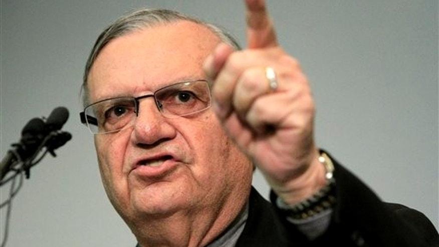 Dec. 21, 2011: Maricopa County Sheriff Joe Arpaio speaks to the media before holding a ceremony where 92 of his immigration jail officers, who lost their federal power to check whether inmates are in the county illegally, turn in their credentials after federal officials pulled the Sheriff's office immigration enforcement powers.