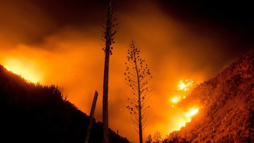 Aug. 19, 2016: The Blue Cut fire burns in Upper Lytle Creek near Wrightwood, Calif.