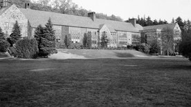 This is an exterior view of Chappaqua's Horace Greeley High School in Chappaqua, N.Y., shown May 24, 1956. (AP Photo/Matty Zimmerman)