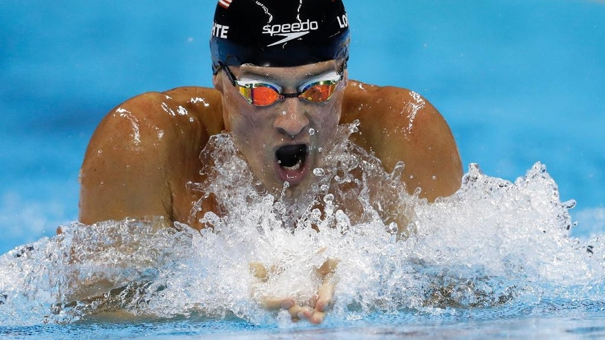 FILE - In this Aug. 11, 2016, file photo, United States' Ryan Lochte competes in the men's 200-meter individual medley final during the swimming competitions at the 2016 Summer Olympics, in Rio de Janeiro, Brazil. Speedo is the first major sponsor to drop swimmer Ryan Lochte as a sponsor. The swimsuit maker owned by PVH in New York says that it doesn't condone behavior that is counter to its values. Lochte fabricated a tale that he was robbed at gunpoint in Rio de Janeiro during the Olympics. He later apologized. (AP Photo/Michael Sohn, File)