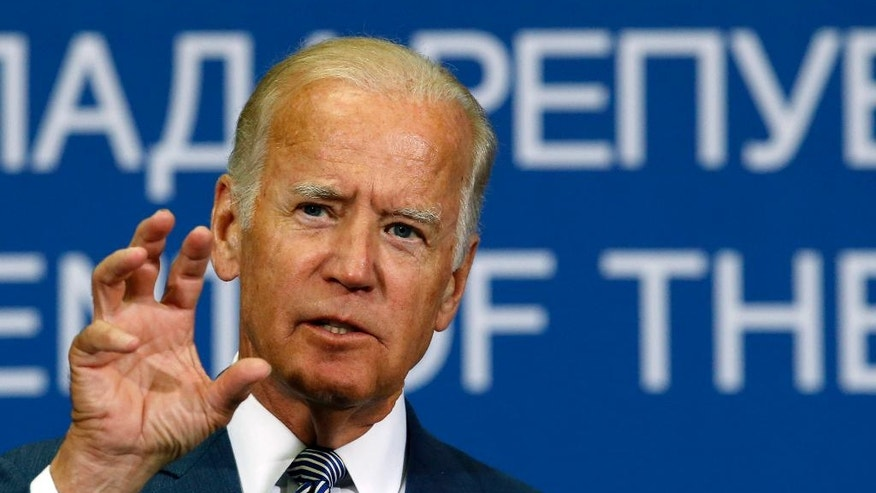 FILE - In this Aug. 16, 2016 file photo, Vice President Joe Biden gestures during a news conference in Belgrade, Serbia. Biden faces a difficult mission when he travels to Ankara on Wednesday, Aug. 24, 2016, to try to smooth over recent strains: He comes bearing no assurances that the U.S. will agree to Turkey's demand that it extradite Fethullah Gulen, who lives in Pennsylvania. (AP Photo/Darko Vojinovic, File)