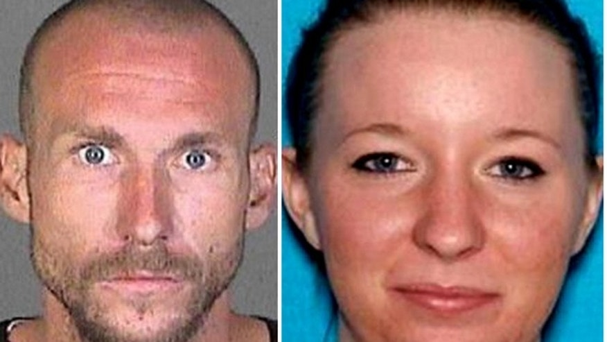 This photo combination provided by the Los Angeles County Sheriff's Department shows Joshua Robertson and Brittany Humphrey, who authorities are seeking in connection with the killing of Kimberly Harvill and kidnapping of her three small children.