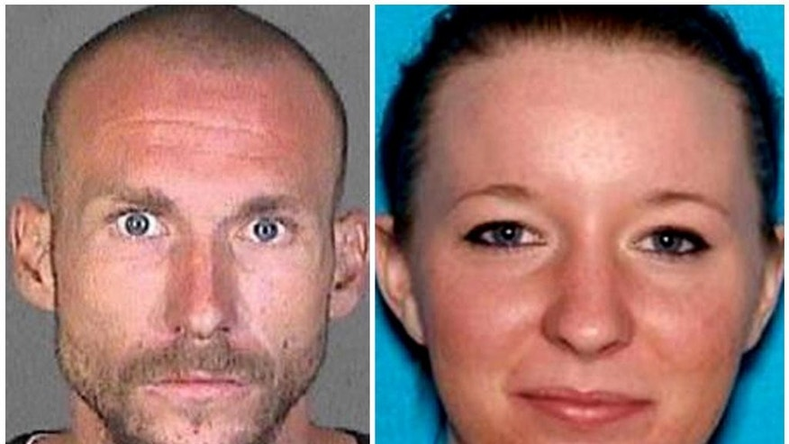 This undated wanted poster provided by the Los Angeles County Sheriff's Department shows a wanted poster of suspects Joshua Robertson, 27, and Brittany Humphrey, 22, who authorities are seeking in the killing of a woman and kidnapping her three small children and leaving the state. (Los Angeles County Sheriff's Department via AP)