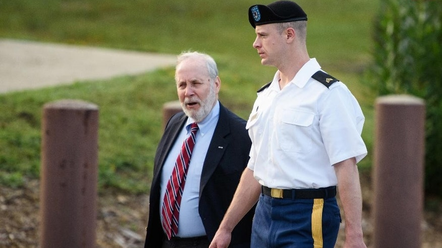 Sgt. Bowe Bergdahl, right, arrives with his civilian attorney, Eugene Fidell, for a legal hearing at the courtroom on Wednesday, Aug. 24, 2016, on Fort Bragg, N.C. Bergdahl, who disappeared in Afghanistan in 2009 and was held by the Taliban for five years, is charged with desertion and misbehavior before the enemy. (Andrew Craft/The Fayetteville Observer via AP)