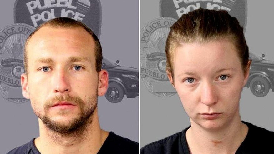 This undated booking photo released by the Pueblo, Colo., Police Department shows Joshua Robertson, and Brittany Humphrey. Eleven days after the body of a woman was found in the Los Angeles area, the couple suspected of killing her and kidnapping her three children have been arrested in Colorado. Robertson, and Humphrey, were arrested Thursday, Aug. 25, 2016 without incident in Pueblo, Colo. about 40 miles south of Colorado Springs. The couple was wanted in connection with the death of Humphrey's half-sister, Kimberly Harvill, whose body was found with multiple gunshot wounds along a road in a remote area of Los Angeles County on Aug. 14.  (Pueblo Police Department via AP)