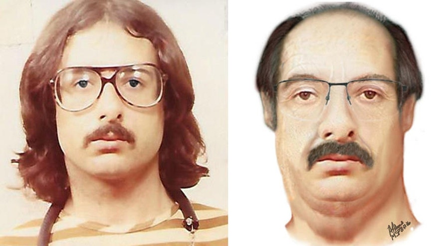 Left: A 1983 booking photo of fugitive murder suspect John Gentry. Right: An age-progressed artist's depiction of Gentry at present.
