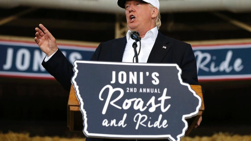 Republican presidential candidate Donald Trump speaks at Joni's Roast and Ride at the Iowa State Fairgrounds, in Des Moines, Iowa, Saturday, Aug. 27, 2016. (AP Photo/Gerald Herbert)