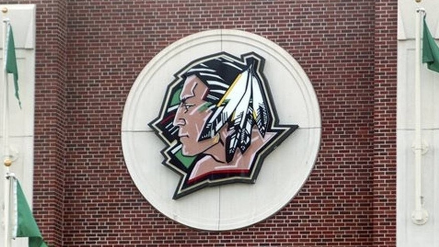 The University of North Dakota's Fighting Sioux logo at Ralph Engelstad Arena in 2010.