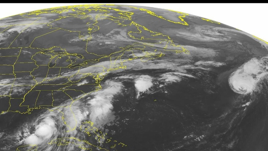This NOAA satellite image taken Thursday, September 01, 2016 at 12:45 AM EDT shows large amounts of thunderstorm activity occurring offshore of the southeastern United States, extending offshore of the Mid-Atlantic. Tropical Storm Hermine is also observed in the southeastern Gulf of Mexico, slowly marching northward towards the Gulf shore. Some isolated rain showers are also moving ahead of a cold front draped across New England and into the Mid-west. (NOAA/Weather Underground via AP)