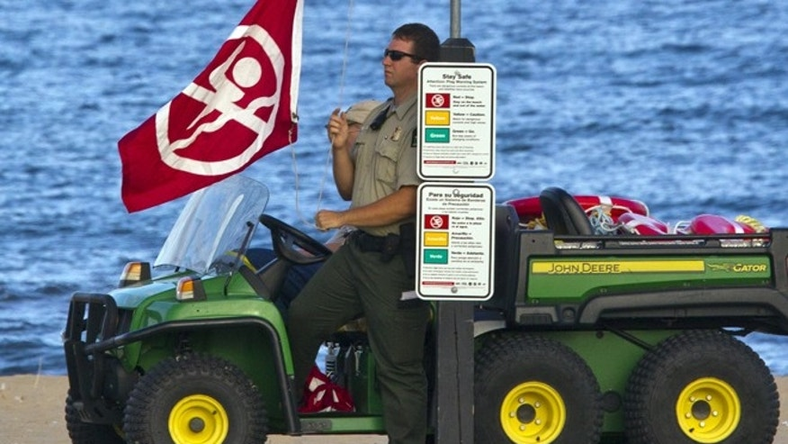 Holland State Park officials post red flags for no swimming as emergency personal search for two missing swimmers at Holland State Park on Thursday, Sept. 1, 2016.