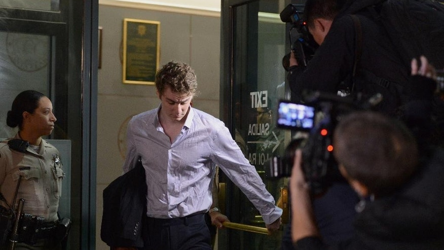 Brock Turner leaves the Santa Clara County Main Jail in San Jose, Calif., on Friday, Sept. 2, 2016. Turner, whose six-month sentence for sexually assaulting an unconscious woman at Stanford University sparked national outcry, was released from jail after serving half his term. (Dan Honda/Bay Area News Group via AP)