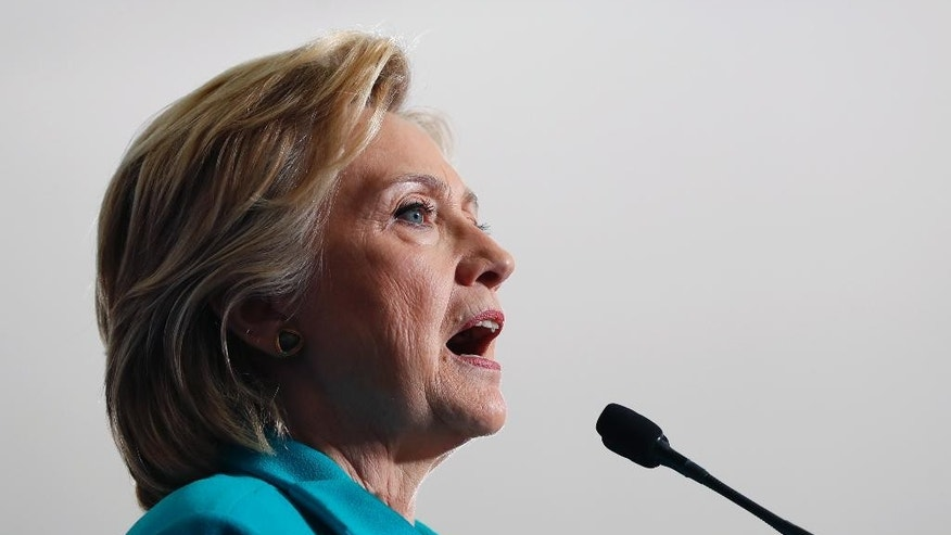 In this photo taken Aug.25, 2016, Democratic presidential candidate Hillary Clinton speaks during at a campaign event in Reno, Nev. Rep. Jason Chaffetz, R-Utah, chairman of the House committee investigating Hillary Clinton's email practices asked a federal prosecutor Tuesday, Sept. 6, 2016, to determine whether she and others working with her played a role in the deletion of thousands of her emails by a Colorado technology firm overseeing her private computer server in 2015. The written request, obtained by The Associated Press, is based on recent revelations from the FBI, which decided not to press for criminal charges after its own year-long investigation.  (AP Photo/Carolyn Kaster)