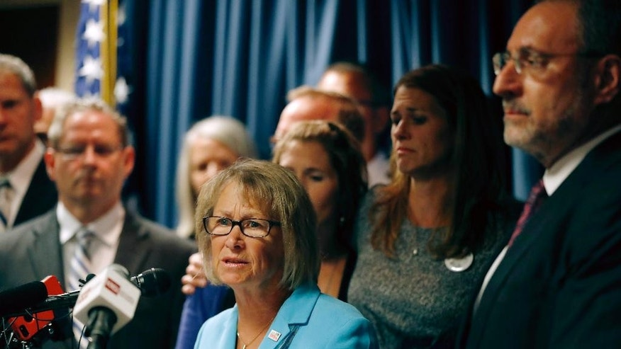 "Patty Wetterling, mother of Jacob Wetterling, speaks after a hearing for Danny Heinrich hearing, Tuesday Sept. 6, 2016 in Minneapolis. Danny Heinrich confessed Tuesday to abducting and killing 11-year-old Jacob Wetterling nearly 27 years ago, recounting a crime that long haunted the state with details that included Jacob asking right after he was taken: ""What did I do wrong?"" (Jerry Holt/Star Tribune via AP)"