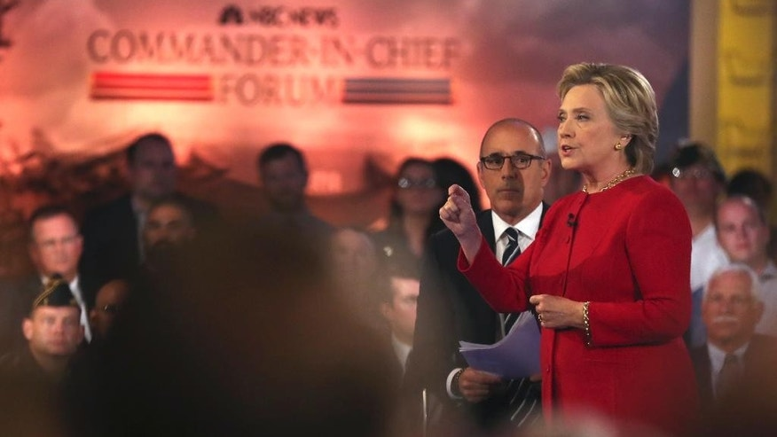"""Democratic presidential candidate Hillary Clinton speaks during a """"commander in chief forum"""" hosted by NBC in New York on Wednesday, Sept. 7, 2016. (AP Photo/Andrew Harnik)"""