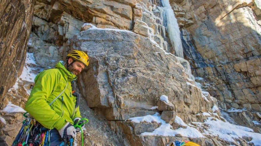 """This undated photo shows climber Scott Adamson. Two well-known Utah climbers are missing in Pakistan where they were attempting to make a treacherous ascent up an icy mountain. Alpinists Kyle Dempster and Adamson were due back at base camp on Friday, Aug. 26, 2016, after they left five days earlier to begin an ascent up the north face of a place called """"Ogre II"""" off the Choktoi Glacier in northern Pakistan, said Jonathan Thesenga of Black Diamond Equipment. Snowy and cloudy conditions are hindering rescue efforts that began Sunday, he said. (Nathan Smith/Pull Photography via AP)"""
