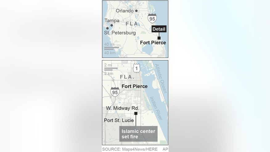 Map locates Fort Pierce, Fla., where a mosque was burned; 1c x 3 1/2 inches; 46.5 mm x 88 mm;