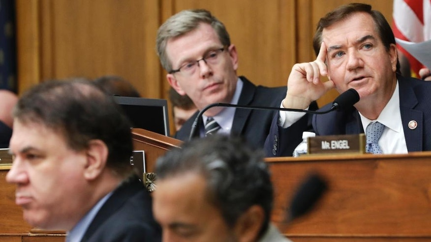 House Foreign Affairs Committee Chairman Rep. Ed Royce, R-Calif., right, speaks on Capitol Hill in Washington, Wednesday, Sept. 14, 2016, during the committee's hearing on Iran. The committee approved legislation to prohibit the U.S. from making cash payments to Iran and requires that any future settlements with Tehran be conducted openly.  (AP Photo/Jacquelyn Martin)