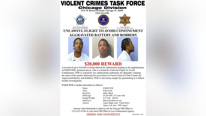This undated wanted poster dated May 2, 2013 provided by the Violent Crimes Task Force, Chicago Division, shows photos of Paris Poe. Poe is one of six defendants on trial for racketeering and other charges are purported leaders of the widely feared Hobos, a South Side gang that federal prosecutors say murdered, maimed and tortured their way into control of some of Chicago's most lucrative drug markets. Their federal trial begins Wednesday, Sept. 14, 2016 with opening statements in Chicago. (Violent Crimes Task Force, Chicago Division via AP)