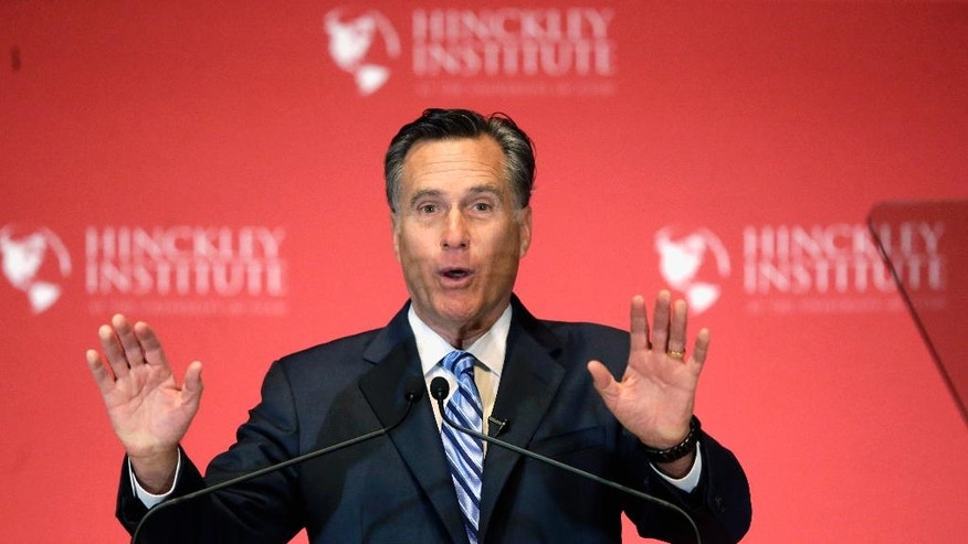 FILE - This March 3, 2016, file photo, 2012 Republican presidential candidate Mitt Romney weighs in on the Republican presidential race during a speech at the University of Utah, in Salt Lake City. The Pew Research Center survey found that just under half of Mormon registered voters, 48 percent, describe themselves as Republican this year. That's down from 61 percent four years ago when Romney was the party's presidential nominee. (AP Photo/Rick Bowmer, File)