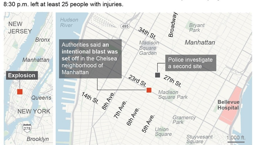 Graphic locates the site of an explosion in the Chelsea neighborhood of Manhattan; 3c x 3 1/2 inches; 146 mm x 88 mm;