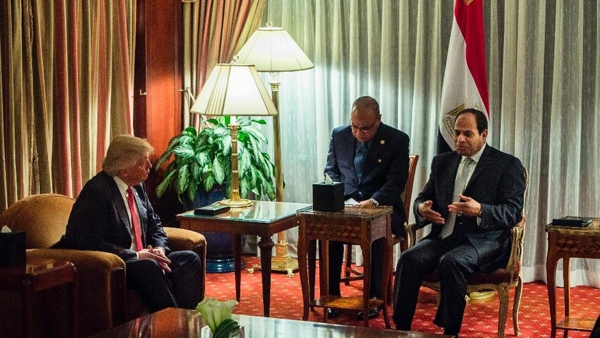 Republican presidential nominee Donald Trump, left, listens to Egyptian President Abdel-Fattah el-Sissi, right, during a meeting at the Lotte New York Palace hotel in New York, Monday, Sept. 19, 2016. (AP Photo/Andres Kudacki)